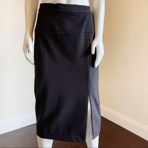 ANN TAYLOR Black Stretch Seamed Midi Pencil Skirt